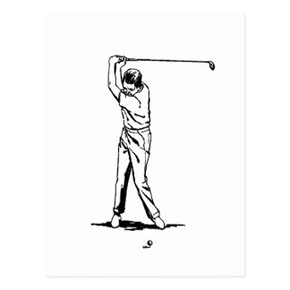 Golfer - Retro Drawing Postcard