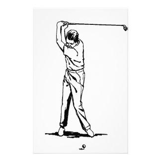 Golfer - Retro Drawing Stationery