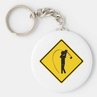 Golfer Road Sign Key Ring
