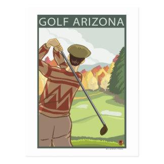 Golfer SceneArizona Postcard
