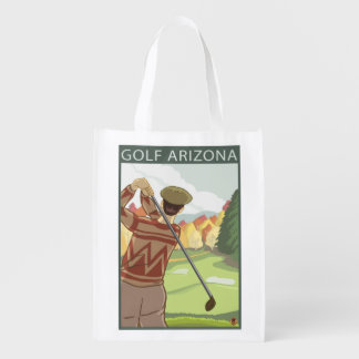 Golfer SceneArizona Reusable Grocery Bag