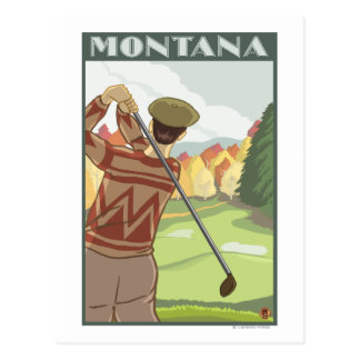 Golfer SceneMontanaVintage Travel Poster Post Card