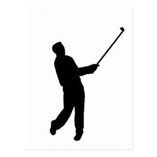 Golfer silhouette postcards