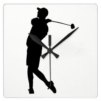 Golfer Silhouette Square Wall Clock