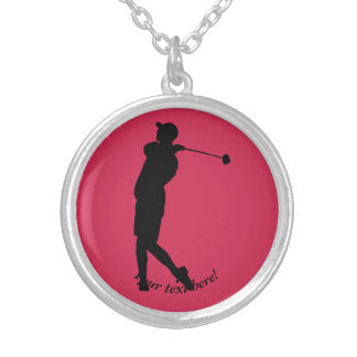 Golfer Silver Plated Necklace