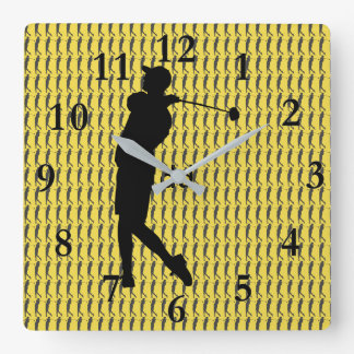 Golfer Square Wall Clock