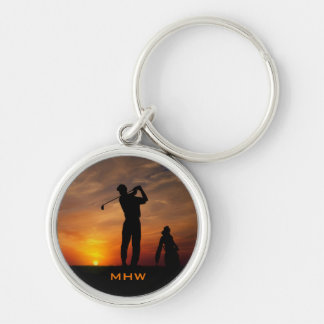 Golfer Sunset custom monogram key chains