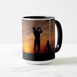 Golfer Sunset custom monogram mugs