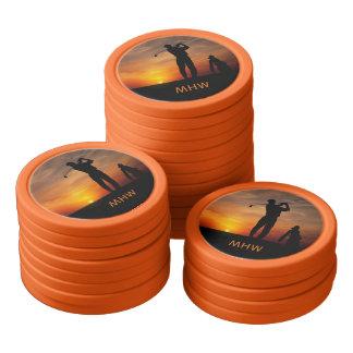Golfer Sunset custom monogram poker chips