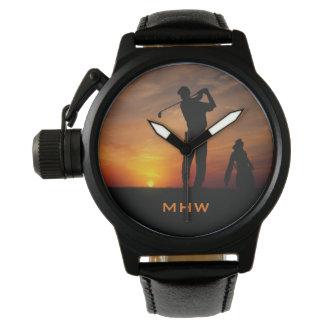 Golfer Sunset custom monogram watches