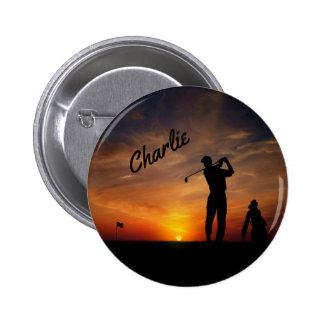 Golfer Sunset custom name buttons