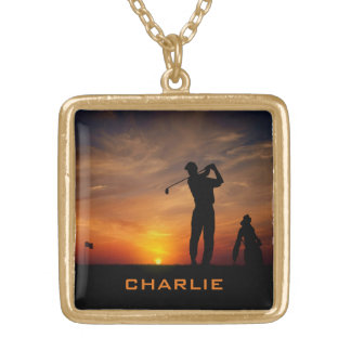 Golfer Sunset custom name necklace