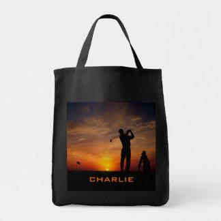 Golfer Sunset custom name tote bags