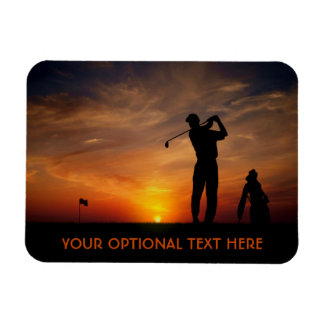 Golfer Sunset custom text magnet
