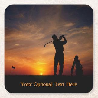 Golfer Sunset custom text paper coasters