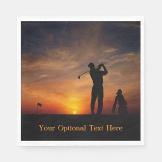 Golfer Sunset custom text paper napkins