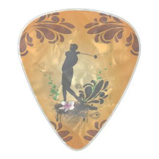 Golfer with floral elments pearl celluloid guitar pick