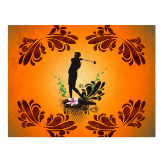 Golfer with floral elments postcard