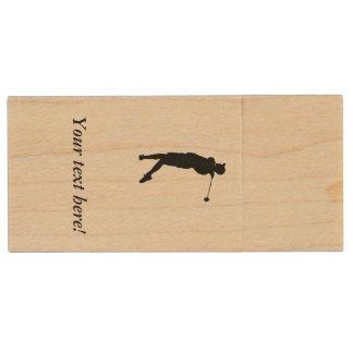 Golfer Wood USB Flash Drive