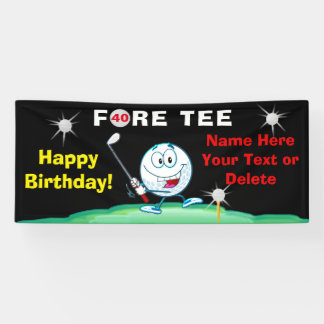 Golfers 40th Birthday Banner Your Text and Colors