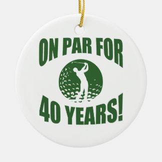 Golfer's 40th Birthday Ceramic Ornament