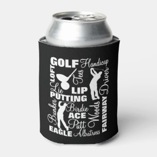 Golfers Golf Terminology Text Graphic Can Cooler