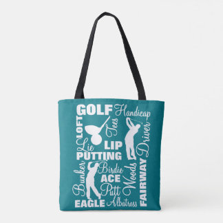Golfers Golf Terminology Text Graphic Tote Bag