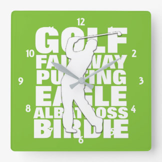 Golfers Golf Terminology Typography Square Wall Clock