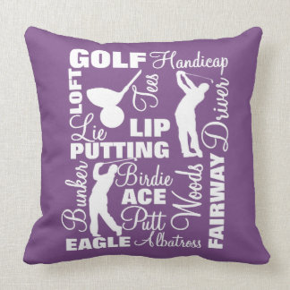 Golfers Golf Themed Terminology Typography Throw Pillow