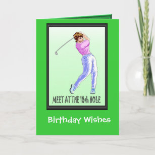 Golfing Birthday Cards Lady Player Card