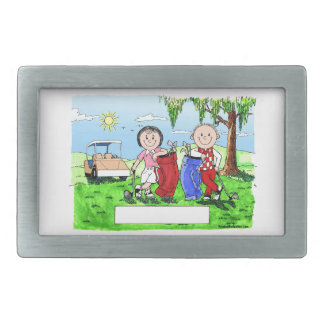 Golfing Couple - Personalized Cartoon Belt Buckle