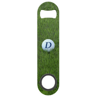 Golfing Dad Golf Ball Monogram Green Bottle Opener