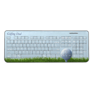Golfing Dad Golf Ball Sky Blue Wireless Keyboard