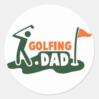 Golfing DAD Round Stickers