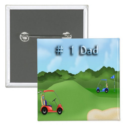 Golfing Father's Day Button