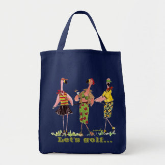 Golfing Flamingos Grocery Tote