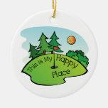 Golfing Golf Course Hole Happy Place Round Ceramic Decoration