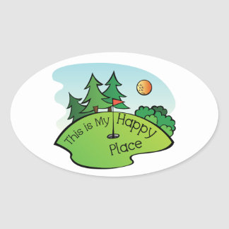 Golfing Golf Course Hole Happy Place Oval Sticker