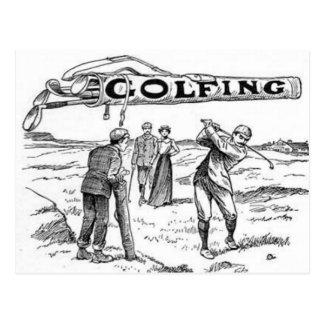 Golfing Golfer Playing Golf Tournament Vintage Postcard