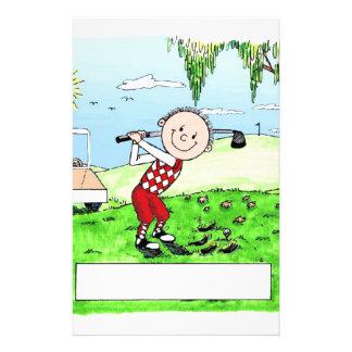 Golfing, Male- Personalized Friendly Folks Cartoon Stationery
