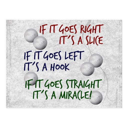 Golfing  Miracle Post Card