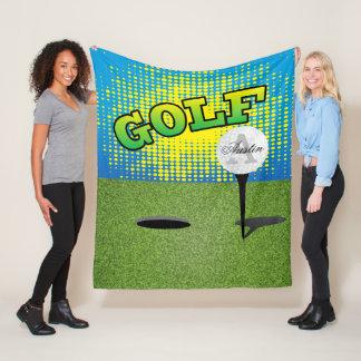 Golfing on the Green - Monogram Fleece Blanket