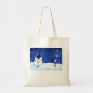 Golfing Snowman tote. Tote Bag