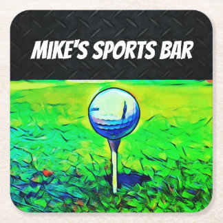 Golfing Sports Bar Personalized Coasters