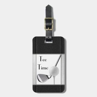 Golfing Tee Time Black Leather Image For Men Bag Tag