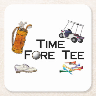 Golfing Time Fore Tee Square Paper Coaster