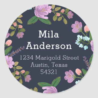 Golightly Floral Round Address Label