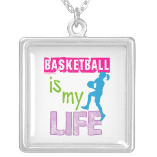 Golly Girls - Basketball is My Life Silver Plated Necklace