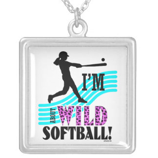 Golly Girls: I'm WILD about Softball Silver Plated Necklace