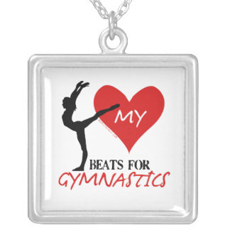Golly Girls - My Heart Beats for Gymnastics Silver Plated Necklace